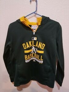 Oakland A's Athletics Hooded Sweatshirt Hoodie Size Youth L (14-16) Partial Zip