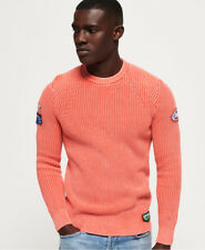 New Mens Superdry Garment Dye Wash Tex Washed Coral