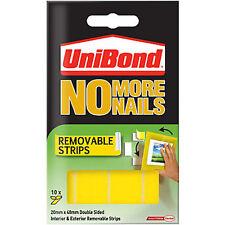 Unibond No More Nails 10x Biadesivo Rimovibile Strisce di montaggio 20mmx40mm - 2kg