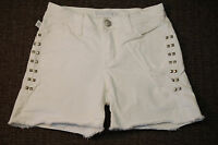 Rock & Republic White Denim Cutoff Shorts - Size 0 - women's, studded