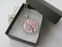 Handmade Pink & White Floral - Tree of Life Round Glass Pendant Chain Necklace