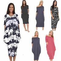 New Women Off Shoulder Plain Baggy Midi Dress Ladies Printed Parachute Oversized