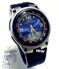 Casio AW-82-2A Moon Phase Dual Time 50M Fishing Gear Black Resin Men's Watch NEW