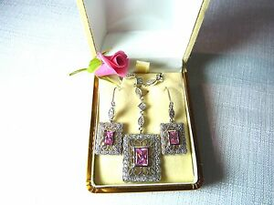 Cubic Zirconia 925 Sterling Silver Necklace & Earring Set