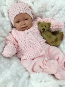 REBORN GIRL DOLL PINK KNITTED SPANISH OUTFIT WITH DUMMY Su