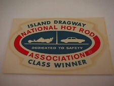 "vintage drag racing decal "" A H R A Island Dragway"""