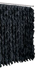 Spring Home Waterfall Shabby Chic Ruffled Fabric Shower Curtain Black