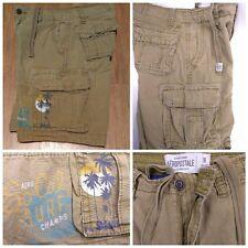 Aeropostale SoCal Surf 7 Pocket Cargo Shorts Beach Scene Brown 100% Cotton 28