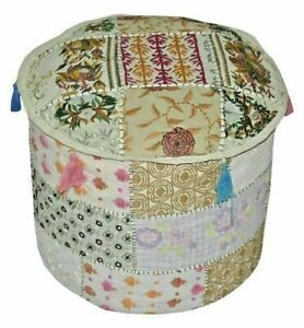 White Multi Color Round Pouffe Cover Vintage Cotton Footstool Ottoman Patchwork
