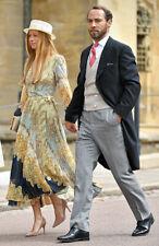 NWT H&M ROYAL WEDDING DRESS 2 S 34 V-NECK WRAP PLEATED LONG SLEEVE SCARF PRINT