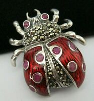 VINTAGE STYLE STERLING SILVER RUBY ENAMEL LADYBIRD BUG INSECT BROOCH SHAWL PIN