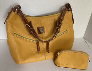 Dooney & Bourke Pebble Leather Handbag Mustard Yellow & Matching Zipper Pouch