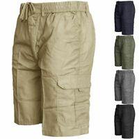 Mens Summer Elasticated Plain Shorts Cargo Combat Lightweight PolyCotton Pants