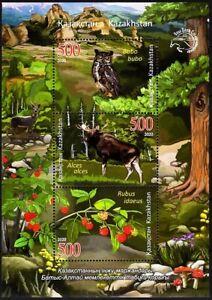 KAZAKHSTAN 2020-11 Flora & Fauna: West Altay Reserve. Owl Elk Mushroom Berry MNH