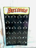 """Vintage Pin Back Buttons Cardboard Display holds 24 buttons up to 1-1/2"""" each"""
