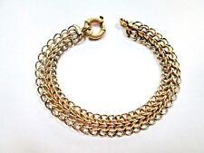 "BR5 LQQK Beautiful 18k Yellow Gold Fishnet Bracelet w/Bolt Ring clasp 7.5"" women"