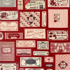 Savonnerie Vintage French Soap Labels Fabric Panel / Moda Red