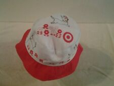"""Girls Target """"BULLSEYE"""" packable hat red & white one size - NEW"""