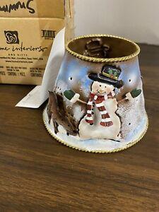 Home Interiors Christmas Snowman Metal Candle Shade Topper NIB