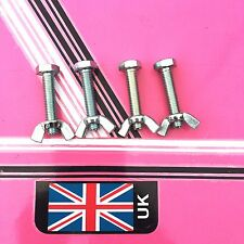4 x Silver Butterfly Nuts and Bolts For Disco Lighting T bars  stands ect
