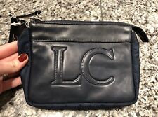 Les Copains Navy Nylon Leather Cosmetic Case