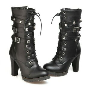 Women's Combat Military Buckle Strap Spike Lace up High Heel Ankle Boots Shoes
