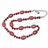Chaps Red Beaded Necklace Bohemian Faux Agate, Extender Chain