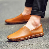AU Men Casual Slip On Loafers Moccasin Genuine Leather Boat Driving Flat Shoes