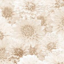 BEIGE CHRYSANTH NATURAL FLOWER FLORAL SCRIPT MURIVA FEATURE WALLPAPER 128501