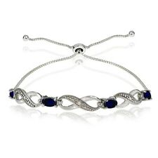 Infinity Symbol Created Blue Sapphire Adjustable Bolo Bracelet in 925 Silver