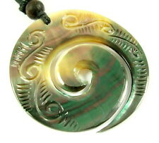 Mother of Pearl Shell Maori Koru Peace Cord Beads Pendant Necklace Jewelry CA239