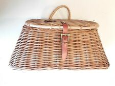 Vintage Fishing Creel Fly Wicker Leather Basket Trout Antique Decor Wall Hanging