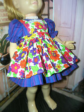 "3 Pc Set Dress Flower Print Apron 19-20"" Doll clothes fits Mattel Chatty Cathy"