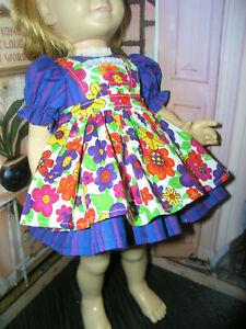"3 Pc Set Dress Flower Print Apron 19-20"" Doll clothes fits Mattel Chatty Cathy"