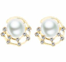 Gold Tone Round Ivory Pearl Orbs on the Moon Shiny Earrings Party Bridal E1229