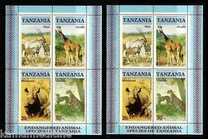 Tanzania 1986 MNH Lot of 2 SS, Rhino, Giraffe, Cat Like Wild Animals