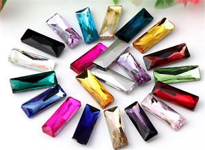 15pcs 7x21mm strip rectangle nail art rhinestone crystal point back cut glass