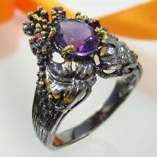 B026 Unikat Ring Amethyst Granat 925 Silber Gold/Black Jugendstil Handarbeit
