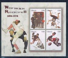 Baseball - NORMAN ROCKWELL MIni Sheet of 4 MNH - Liberia E20