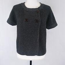 Banana Republic Cape Sweater XL Knit Grey Angora Blend Short Sleeve Buttons