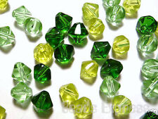 100pc Crystal Glass Value Bicone Beads - Green Mix 6mm (BB6025) Bulk Pack