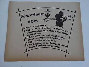 Original Panzerschreck Panzerfaust Bedienungsanleitung Label Wehrmacht WKII WH