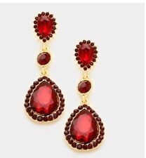 """2.25"""" Red Gold Dangle Drop Rhinestone Prom Long Crystal Pageant Earrings"""