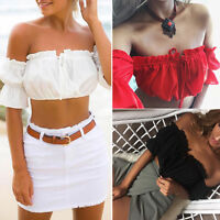 New Womens Lace-up Ladies Top Jumper bare midriff  Off Shoulder Long Sleeve Tops