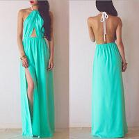 Sexy Women Summer Boho Long Maxi Evening Party Dress Beach Dresses Halter Dress