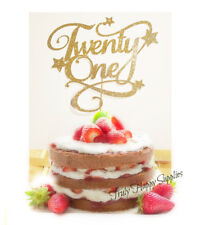 21st Birthday cake topper 'Twenty one' Twenty First 21 Glitter options