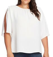 Vince Camuto Womens Blouse Pearl Ivory Size 2X Plus Split-Sleeve $99- 709