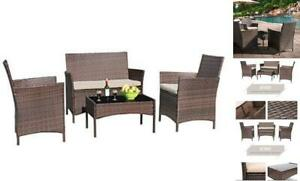 4 Pieces Patio Porch Furniture Sets PE Rattan Wicker Chairs Beige Brown