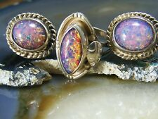Vintage Sterling Silver Dragons Breath Jelly Foil Opal RING EARRING Set SZ 6.75