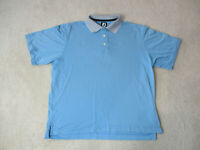 Footjoy Polo Shirt Adult Large Blue White Golfer Lightweight Golf Rugby Mens *